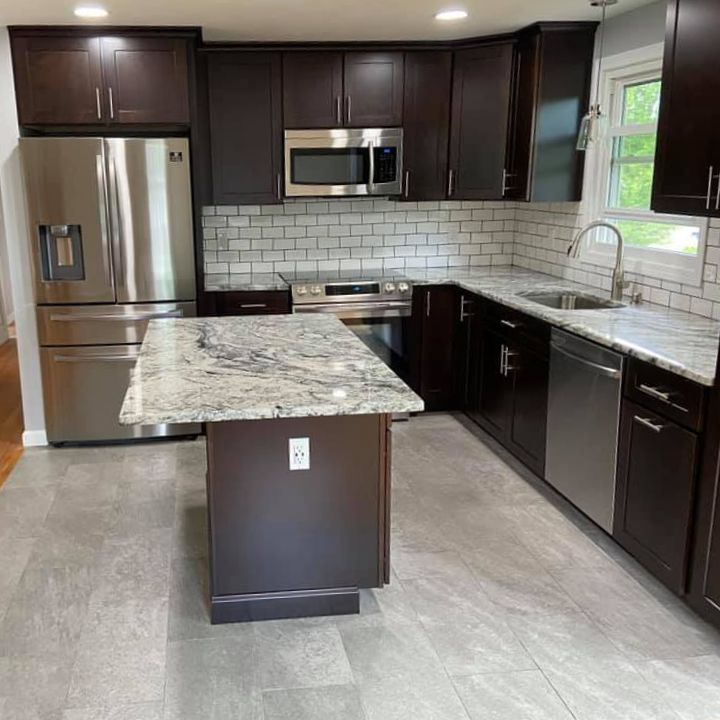 Finished remodel for kitchen with new cabinets, appliances, flooring and backsplash